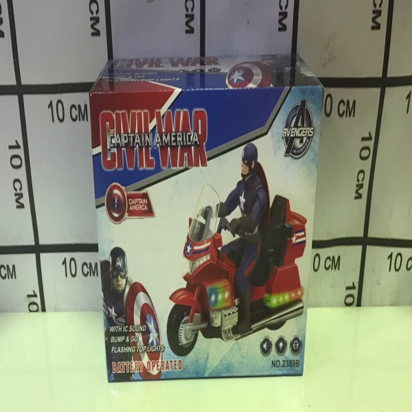 Супер Герой Капитан Америка на мотоцикле (свет, звук) 2389B