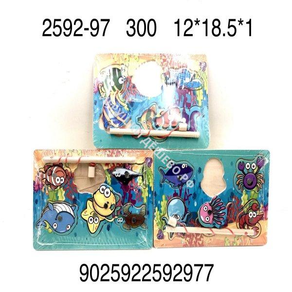 2592-97 Деревянная игрушка пазл-вкладыши Рыбалка, 300 шт. в кор. 2592-97