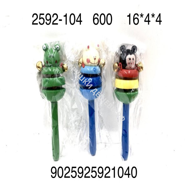 2592-104 Деревянная игрушка Погремушка, 600 шт. в кор. 2592-104